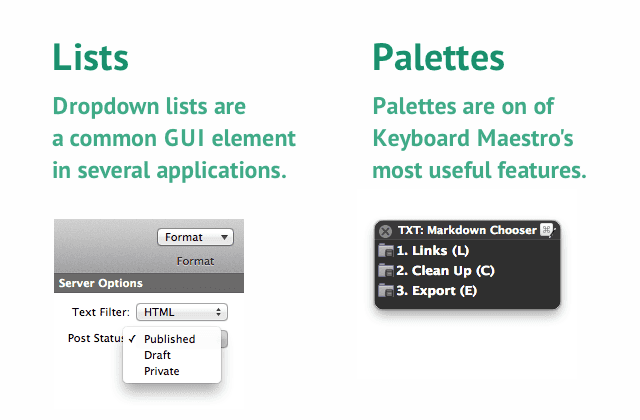 Lists vs. Palettes