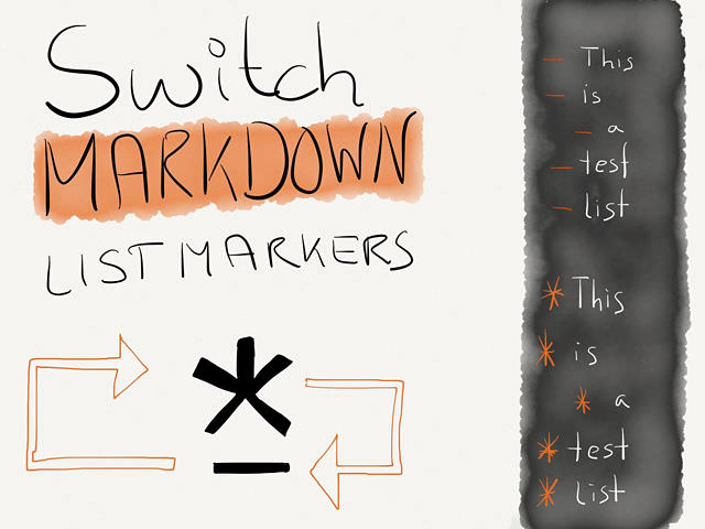 Toggle Asterisks and Hyphen Markdown List Markers Macro → via @_patrickwelker